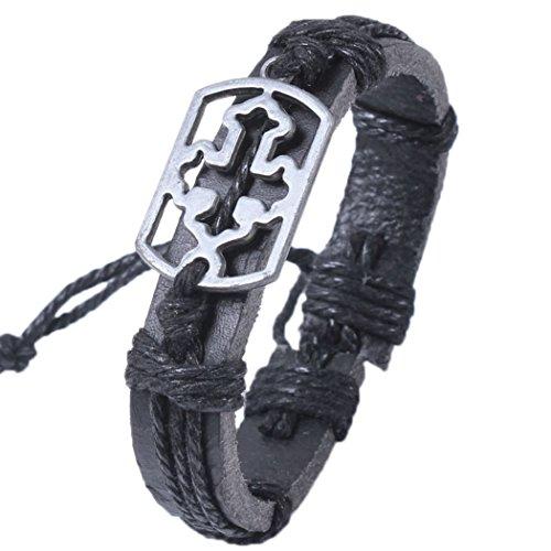 Sun Lorence Stainless Steel Religious Black Cross Wide Leather Bracelet Dark Brown