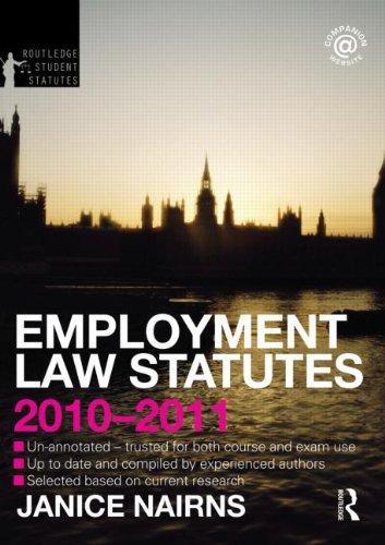 Employment Law Statutes 2010-2011 (Routledge Student Statutes)