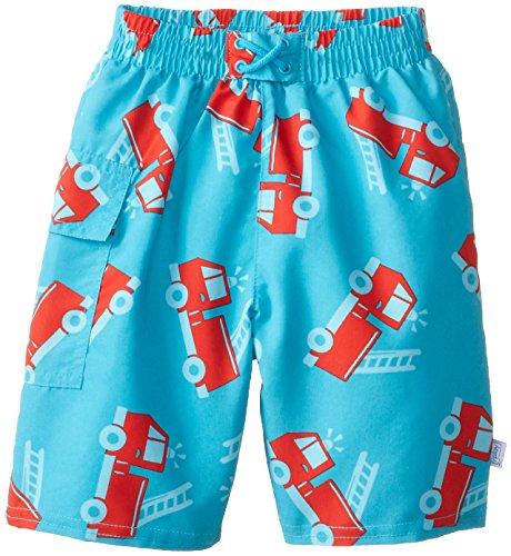 I Play. Baby-Boys Infant Ultimate Swim Diaper Pocket Trunks-Mod Firetruck, Aqua, 2-3 Years