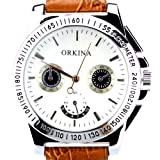 Orkina Mens White Decorative Chrono Dial Quartz Leather Brown Strap Wrist Watch