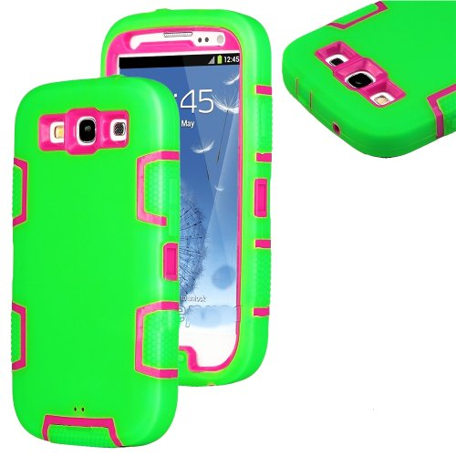 Mylife (Tm) Lime Green And Pink - Rugged Robot Armor Series (3 Piece Neo Hybrid Flexi Case + Urban Body Armor Glove) Case For Samsung Galaxy S3 Gt-I9300 And Gt-I9305 Touch Phone (Thick Silicone Outer Gel + Tough Rubberized Internal Shell)