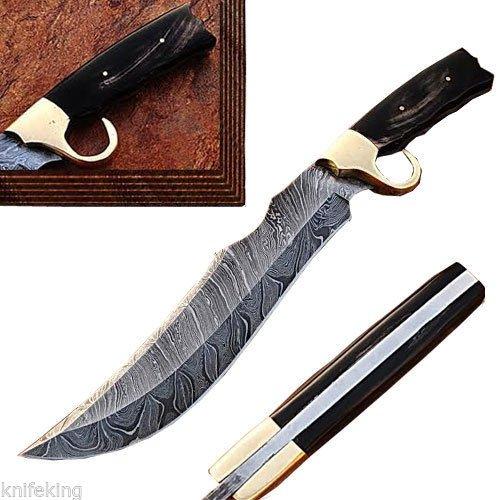 Custom Made Damascus Steel Bowie Knife W/ Stag Horn Handle W/Sheath (Limited Edition)
