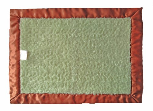 Patricia Ann Designs Chenille with Flat Binding Satin Travel Silkie, Green Apple, Brown - 1