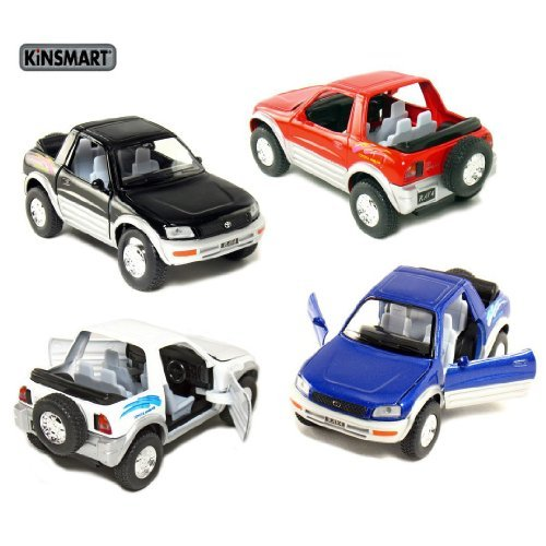 set-of-4-5-toyota-rav4-132-scale-black-black-red-white-by-kinsmart