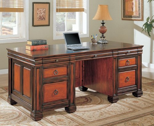 Buy Low Price Comfortable Traditional Dark Brown Two-Tone Finish Computer Desk Work Station (B002BH7PWQ)