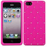 Criss Cross Diamante Silicone Case Cover Skin For Apple iPhone 5 / Pink