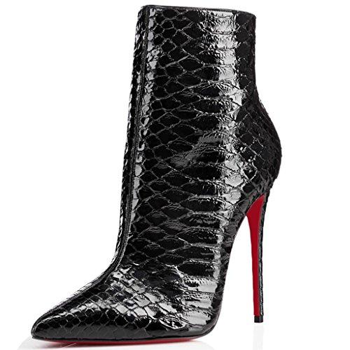 shofoo femmes bottine noir effet peau de serpent cuir synth tique talon aiguille. Black Bedroom Furniture Sets. Home Design Ideas