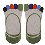 Imported Footful Colorful Cotton Five Fingers Toe Sock Invisible Sock for Women Beige