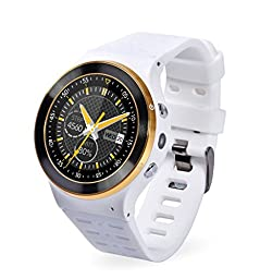 YIDA SW309 Quad Core Smart Watch Phone Android5.1 WCDMA 3G WIFI Full Round Touch Screen Bluetooth 4.0 Pedometer Heart Rate Hands Free Call (White)