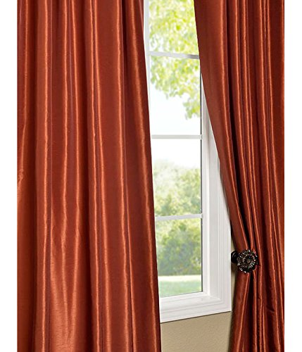 Half Price Drapes Pdch Kbs16 108 Vintage Textured Faux Dupioni Silk Curtain Burnt Orange