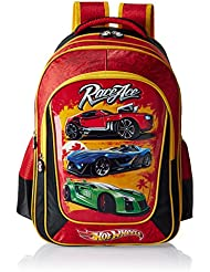 Hot Wheels Polyester 18 Inch Black And Red Children's Backpack (EI-MAT0039)