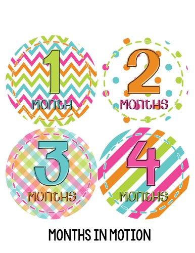 Months in Motion 279 Baby Month Stickers for Newborn Girl Colorful Design