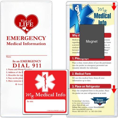 Storesmart - Vial / File Of Life Medical Info Pocket - Magnetic Back - 25-Pack - For Refrigerator, Locker, Filing Cabinets - Volpolym-Heart-25 front-623333