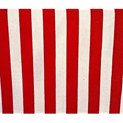 Stripes Big Red White Poly Cotton 58 Inch Fabric By the Yard (F.E.)