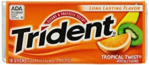 Trident Tropical Twist, 18-Count (Pack of 12)