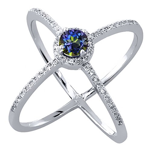 1.62 Ct Round Natural Blue Mystic Topaz 925 Sterling Silver Criss-Cross Ring