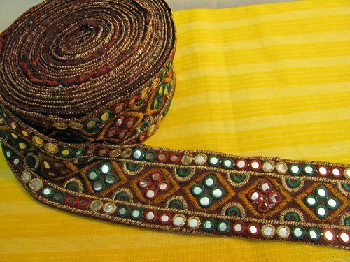 Indian Mirrored Ari Embroidered Fabric Trim (Sold by 2 Yard)