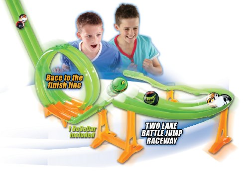 DaGeDar Supercharged Ball Bearing Toy Track Set Two Lane Battle Jump Raceway - 1