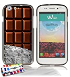 """MUZZANO Coque Souple Ultra-Slim Grise de Qualit� Sup�rieure ORIGINALE au motif exclusif Chocolat pour WIKO STAIRWAY + 3 Protections d'Ecran transparents """"UltraClear"""" + 1 STYLET et 1 CHIFFON OFFERTS"""