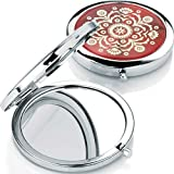 Red with gold inlay shiny rhodium compact mirror