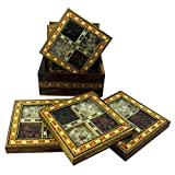 R S Jewels Wood Multi Gemstone Tea Coaster 6 Plates Set Handmade Designer