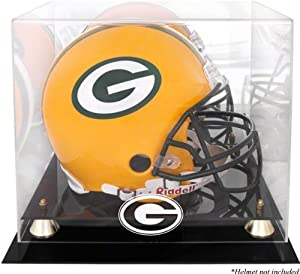 Green Bay Packers Golden Classic Helmet Display Case with Mirror Back by Mounted Memories
