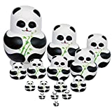 15pcs Pintado A Mano De Madera Pandas Matryoshka Muñecas Rusas