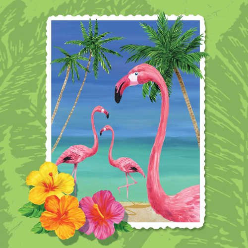 Tropical Vacation Beverage Napkin, 3 Ply (12pks Case)