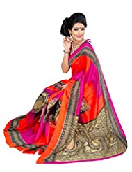 Riti Riwaz Orange & Pink Bhagalpuri Silk Casual Saree With Unstitched Blouse KNK6404B