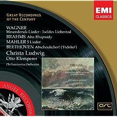 Wagner: Wesendonck Lieder & Isoldes Liebestod/Brahms: Alto Rhapsody/Mahler: 5 Lieder - Christa Ludwig, Otto Klemperer, Philharmonia Orchestra
