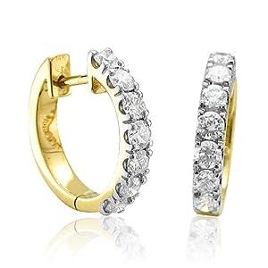 Certified 14k Yellow Gold 7 Stone Hoop Diamond Earrings (GH, SI-I, 1.00 carat)