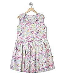 Budding Bees Girls White Floral Fit & Flare Dress