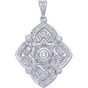 IceCarats Designer Jewelry 14K White Gold Diamond Pendant