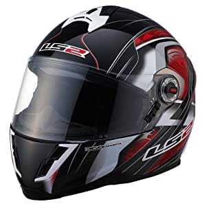 LS2 Helmets FF387 Full Face Motorcycle Helmet with Split Graphic (Red, Small)
