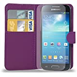 GBOS DARK PURPLE LEATHER WALLET FLIP CASE COVER POUCH FOR SAMSUNG GALAXY S4 MINI i9190 + FREE SCREEN PROTECTOR & TOUCH STYLUS PEN