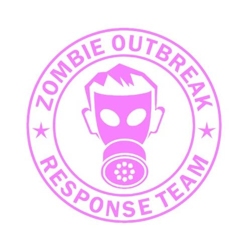 Zombie Outbreak Response Team IKON GAS MASK Design   5 PINK   Vinyl Decal Window Sticker by Ikon Sign