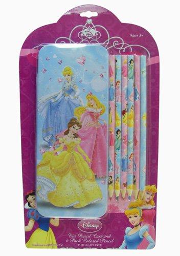 Princess Tin Pencil Case and 6 Pack Colored Pencil - Disney's Princesses Pencil Case - 1
