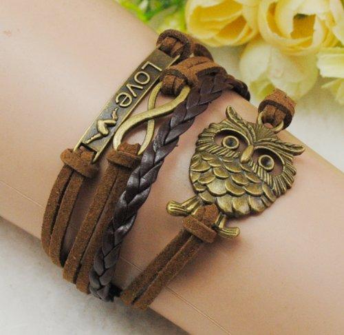 Love Owl Infinity Antique Bronze Korea Velvet Friendship Pu Leather Cute Charm Bracelet B767