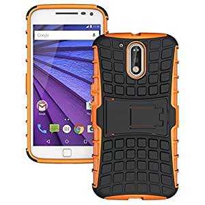 PES Flip Kick Stand Hard Dual Armor Hybrid Bumper Back Case Cover For Motorola Moto G4 Plus - Mobile Orange