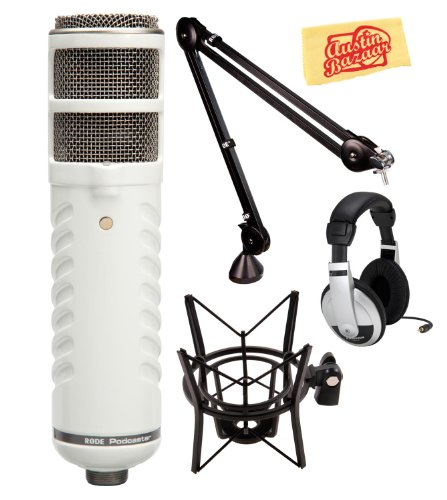 Rode Podcaster Usb Dynamic Microphone Deluxe Bundle With Psa1 Boom Arm, Psm1 Shock Mount, Headphones, And Polishing Cloth