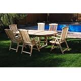 XXS® Gartengruppe Aruba aus Teak-Holz, 7 teilig, Garten-Tisch mit Schirmloch und 6 x Hochlehner Aruba Klapp-Stuhl, Terrassen-Möbel aus Massiv-Holz, Gartenmöbel Oberfläche geschliffen