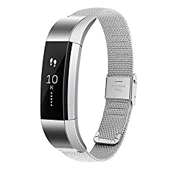 Moretek Metal Band Accessories Replacement Bands for Fitbit Alta Fitness Smart Watch Wrist strap (Silver Band)