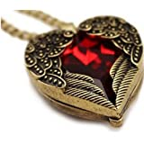 Lingstar(TM) Retro Bronze Chain Red Heart Vintage Palace Pendant Angel Wings