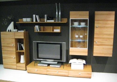 wohnwand kernbuche massiv. Black Bedroom Furniture Sets. Home Design Ideas