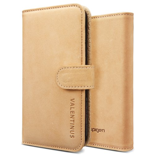 SPIGEN SGP SGP09526 Leather Wallet Valentinus Case for iPhone 5 - 1 Pack - Retail Packaging - Vintage Brown