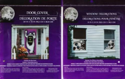 Bundle: 1 Creepy Ghost Door Cover and 2 Evil Spirit Window Cover Scary Haunted House Set of Halloween Decorations