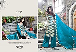 Gangafashions Cotton Fabric Peach Puff And Blue Designer Salwar Kameez [GE-6051-Aaina Vol - 2-1]