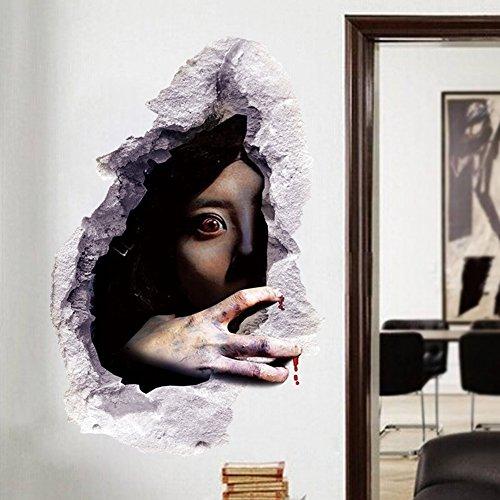 Meily 3D 立体感 ウォールステッカー鬼女 怨霊の女 ホラー ウォールペーパー シール ハロウィンの装飾に (デザイン4)