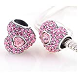 TAOTAOHAS-(1PC) Oxidized Antique 100% Solid Sterling 925 Silver Charms Beads [ Name: Strawberry Heart Color: Rosaline Rose ]with Crystal Rhinestone Fit European Bracelets Necklaces Chains Glass Beads