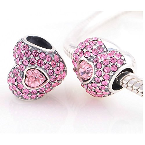 Taotaohas-(1Pc) Oxidized Antique 100% Solid Sterling 925 Silver Charms Beads, [ Name: Strawberry Heart, Color: Rosaline Rose ],With Crystal Rhinestone, Fit European Bracelets Necklaces Chains Glass Beads